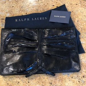 Ralph Lauren black label exotic snakeskin clutch
